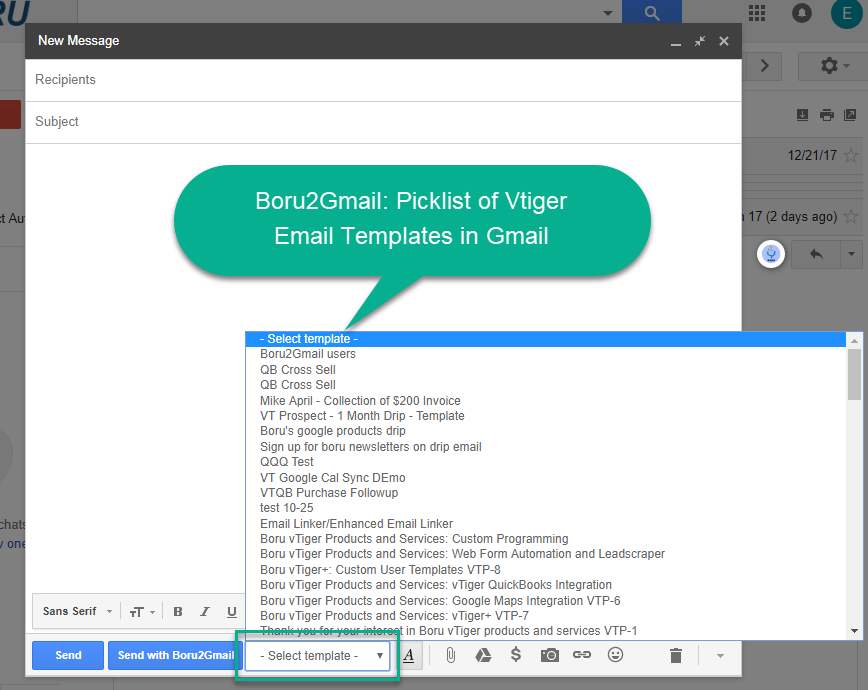 Vtiger app boru2gmail quickly use email templates from vtiger in boru2gmail application and we have created multiple unique capabilities for customers speaking of this we wrote about one capability for saving emails maxwellsz