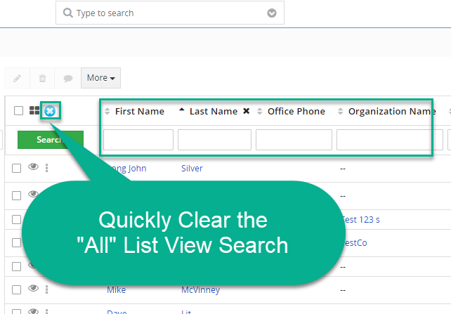 Vtiger Customization: One-Step to Clear Search Columns in